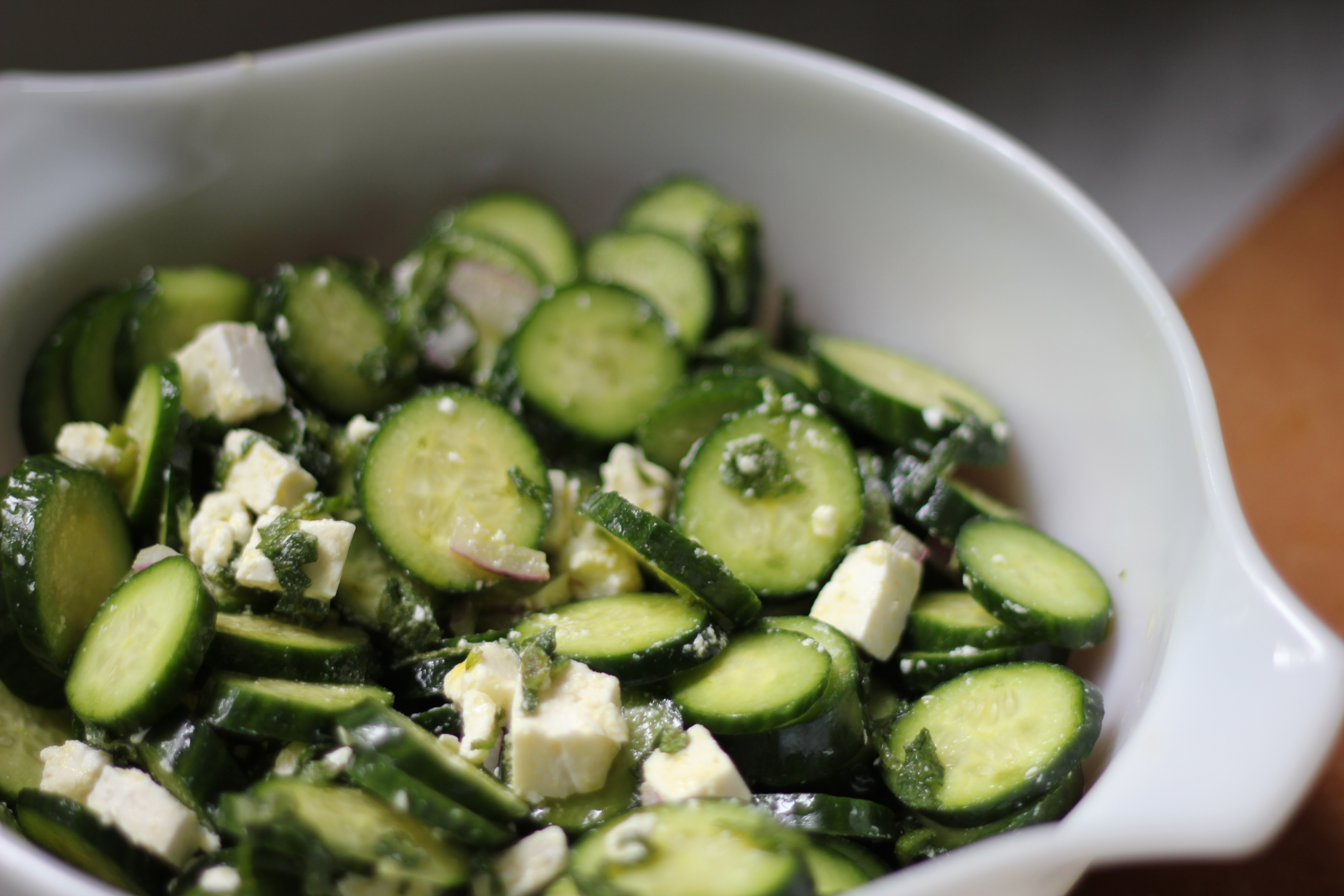 cucumber salad with feta and mint