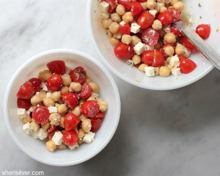 chickpea feta and cherry tomato salad
