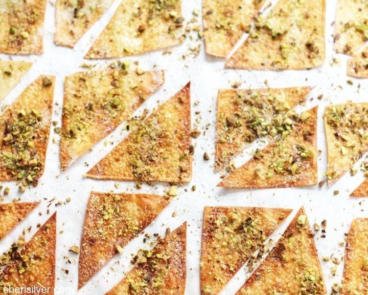 salty sweet pistachio crisps
