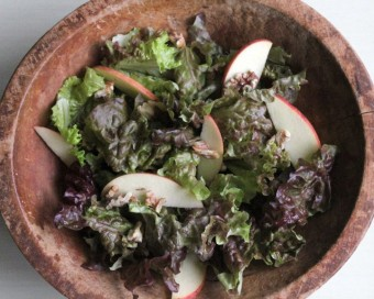 salad with toasted walnuts cherries and apples, garlic mushroom vinaigrette