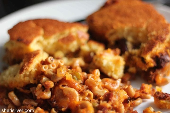chili cornbread and pasta bake