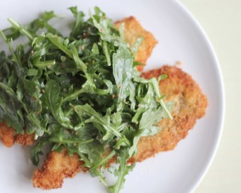 milanese chicken with arugula salad