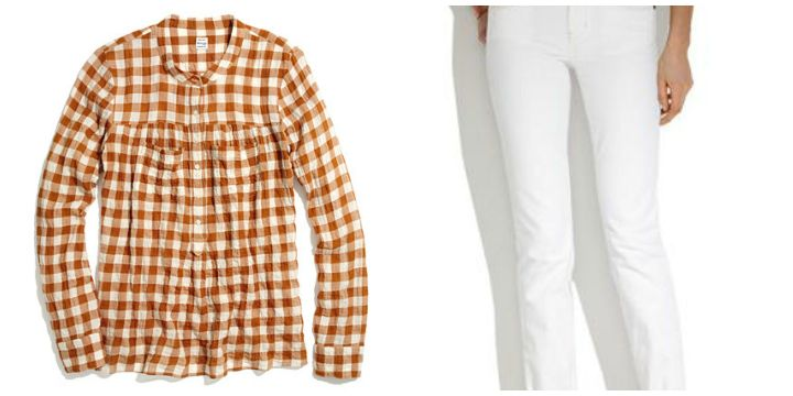checked shirt white jeans