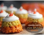 "halloween ""in the house"" – candy corn rice krispie treats"