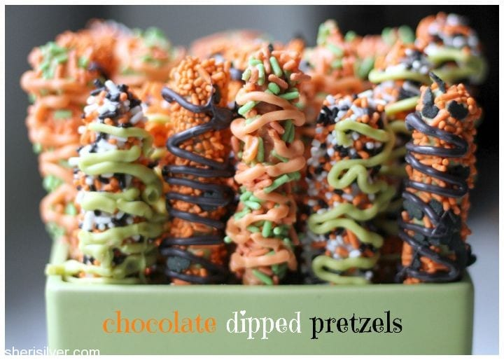 "halloween ""in the house"": chocolate dipped pretzels 