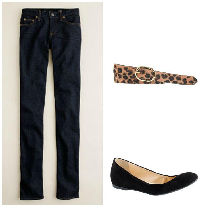 blue jeans printed belt ballet flats