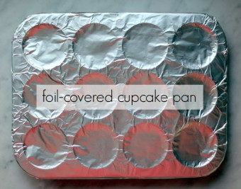foil covered cupcake pan