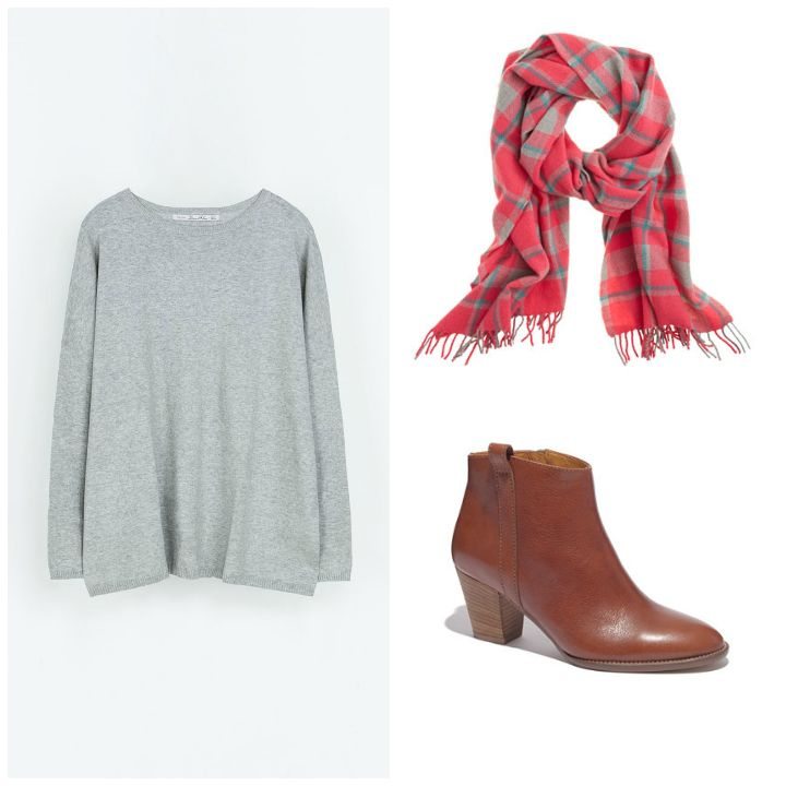 legging jean, sweater, scarf, bootie