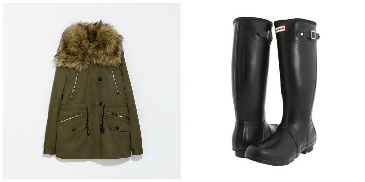 legging jean, parka, hunter boots