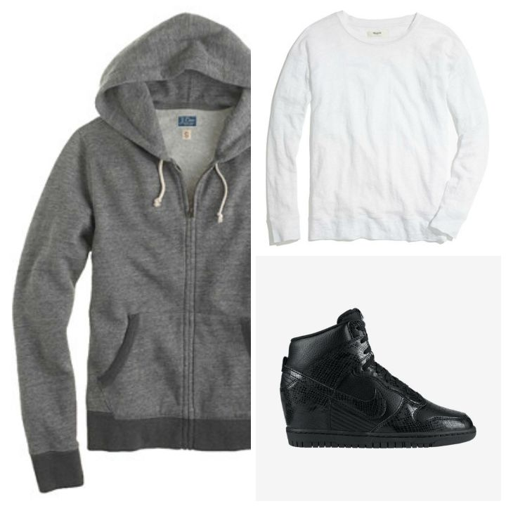 legging jean, hoodie, tee shirt, wedge sneaker