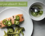 sheet pan salmon and broccoli with chili-caper vinaigrette