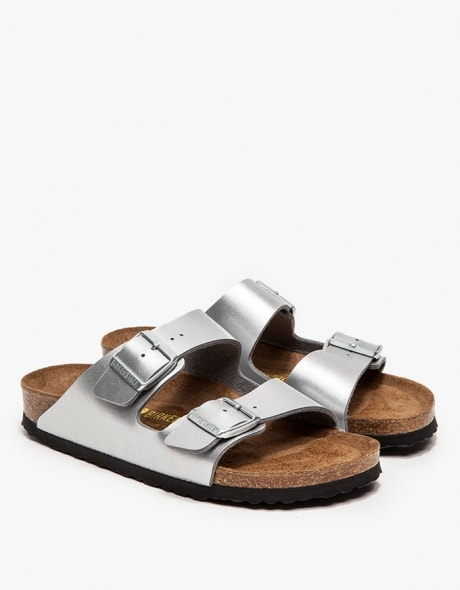 metallic silver arizona birkenstocks