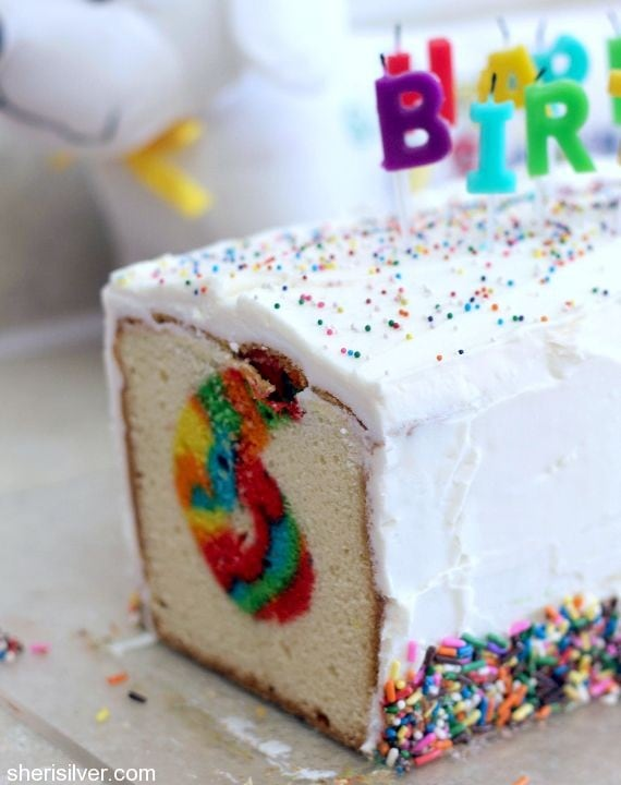 rainbow surprise birthday cake