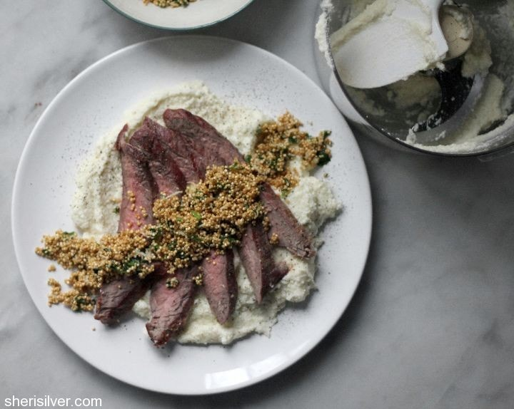 steak with crispy quinoa and cauliflower puree