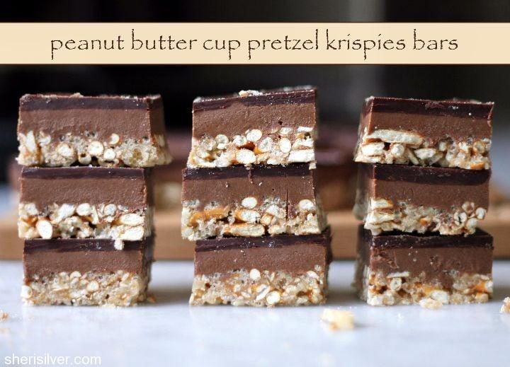 peanut butter cup pretzel krispies bars