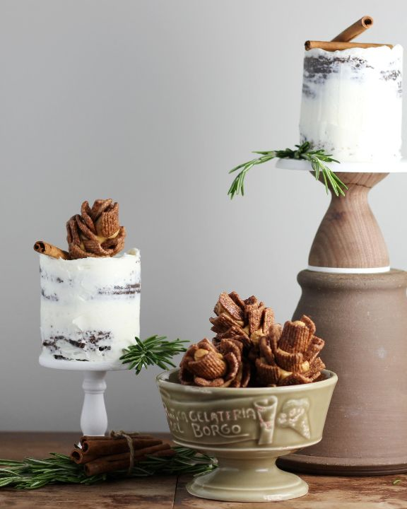 tin can cakes and edible pine cones