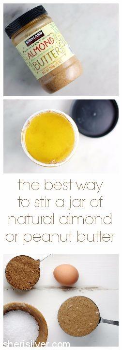 stir a jar of almond butter