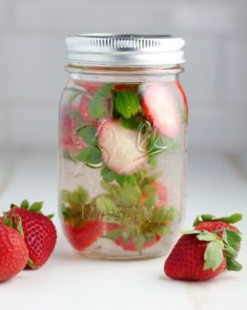 strawberry stems infused water