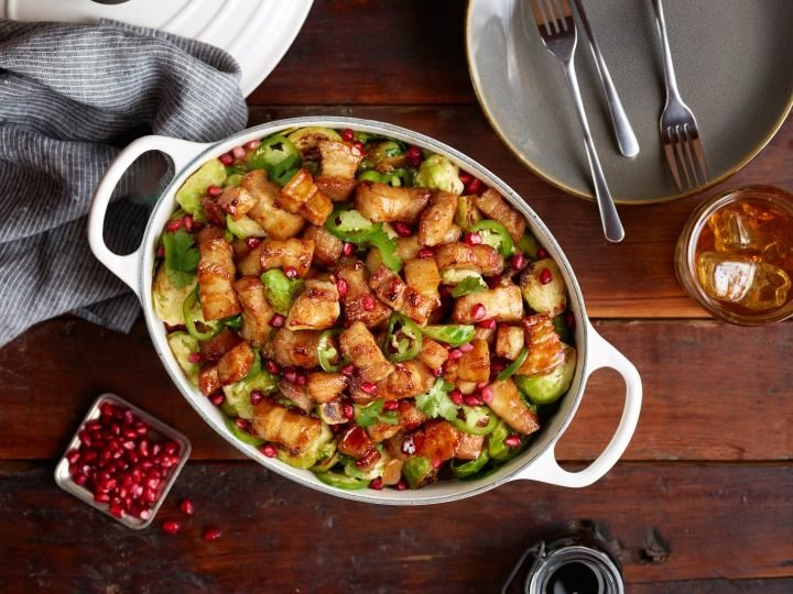 Pan Roasted Pork Belly with Brussels Sprouts and Pomegranate #ad