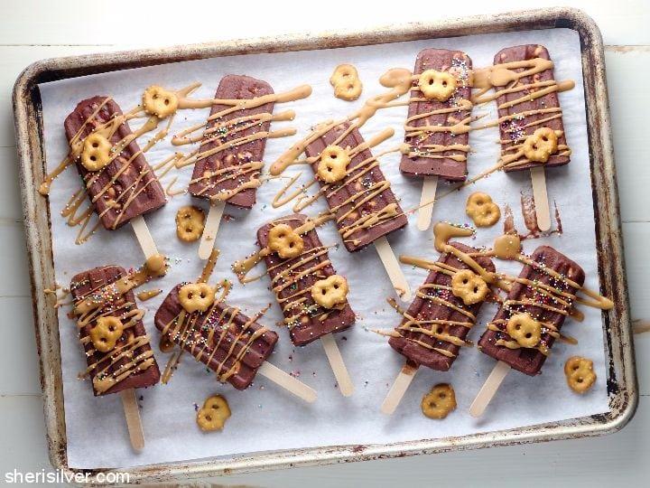 Salted Pretzel Cake Popsicles l sherisilver.com