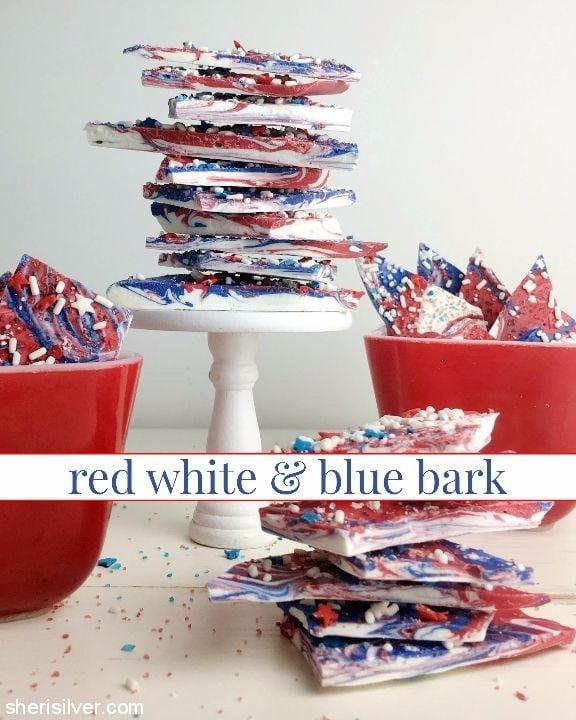 red white blue bark