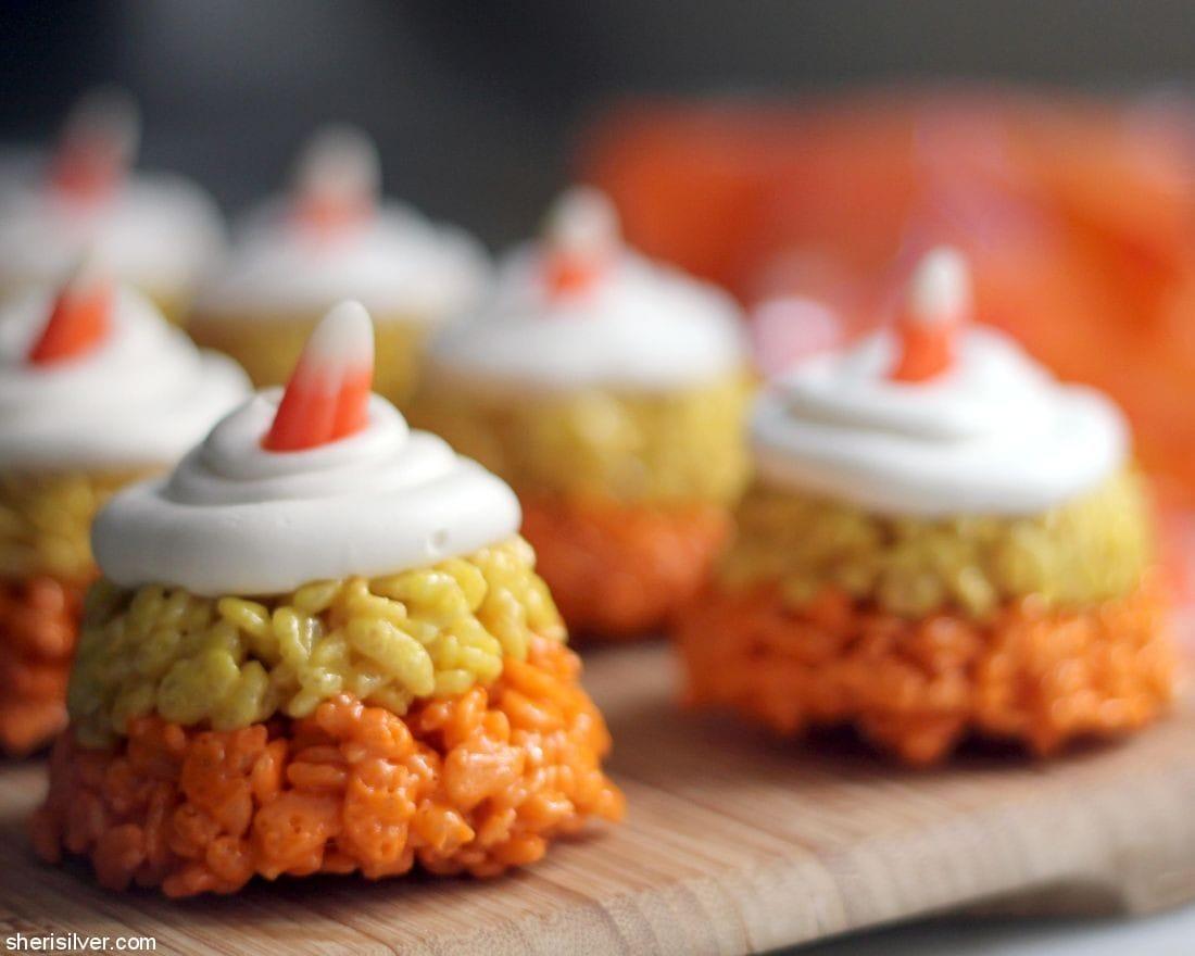 Candy Corn Rice Krispies Treats l sherisilver.com