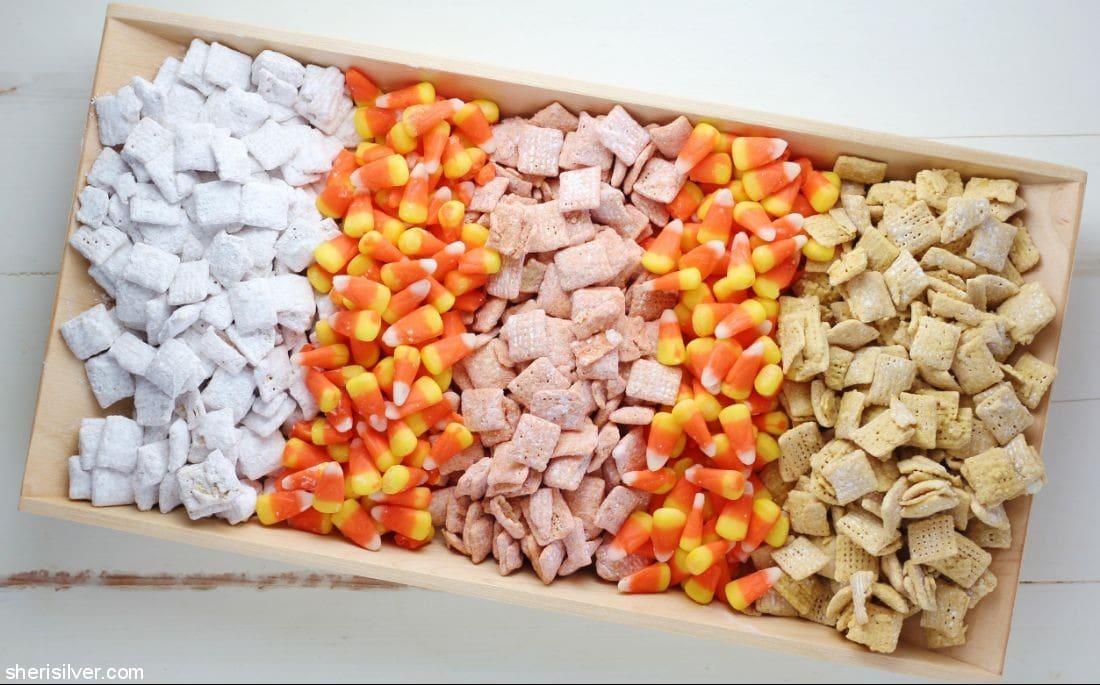 Candy Corn Muddy Buddies l sherisilver.com