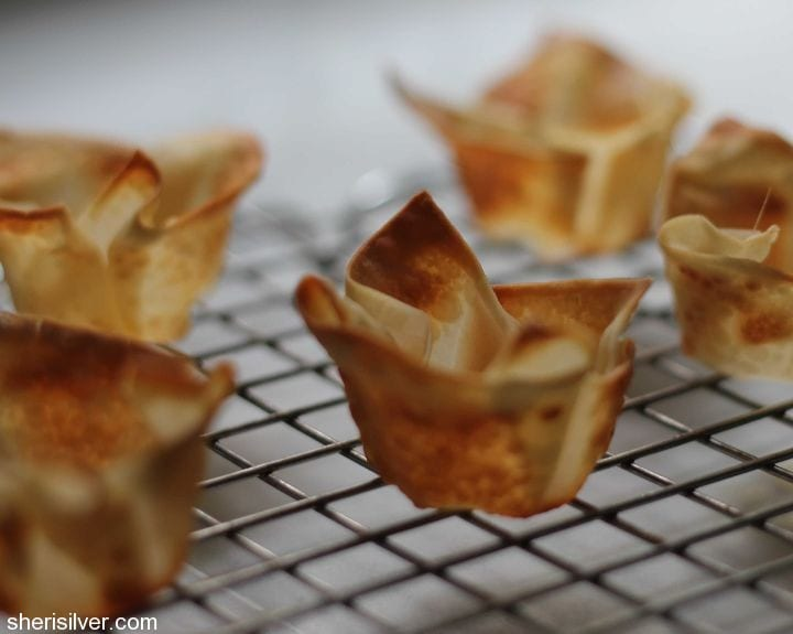 wonton cups with mango curry shrimp salad