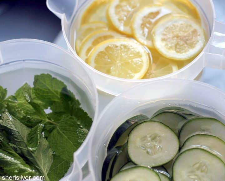 flavored waters lemon cucumber mint