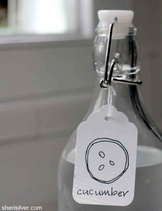ikea bottle with cucumber water