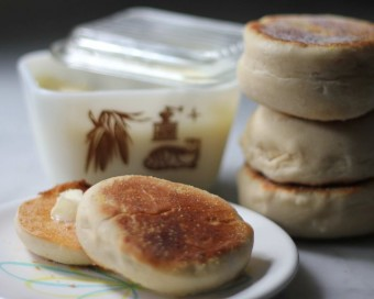 homemade butter and english muffins