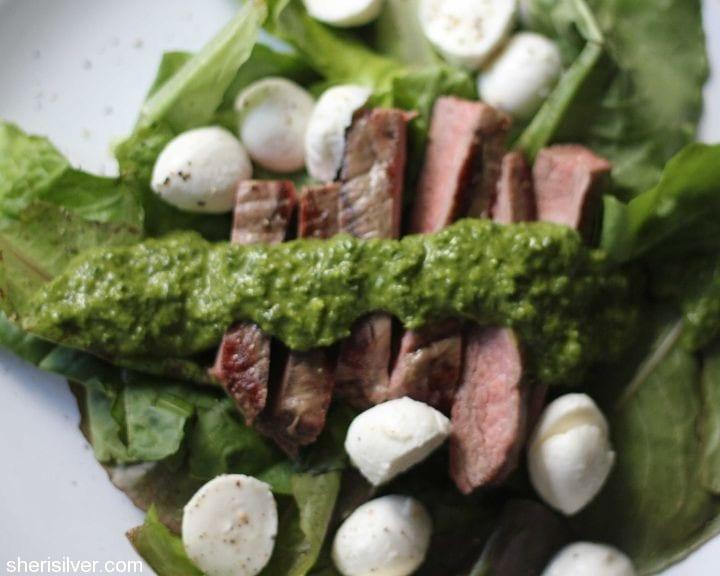 flank steak with chimichurri dressing