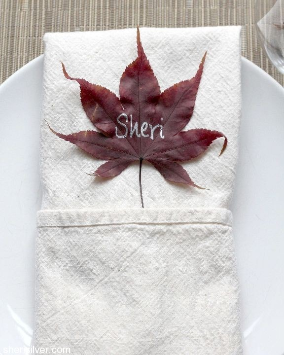 preserving autumn leaves, place card