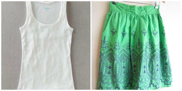 white tank green skirt