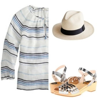 peasant blouse panama hat clogs
