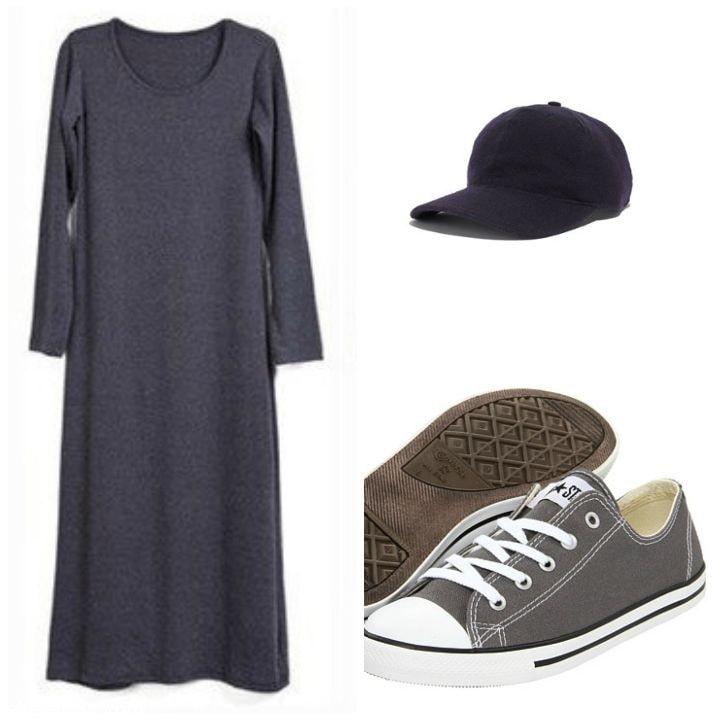 tee shirt dress baseball cap sneakers