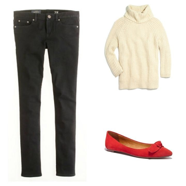 skinny jeans chunky sweater red flats