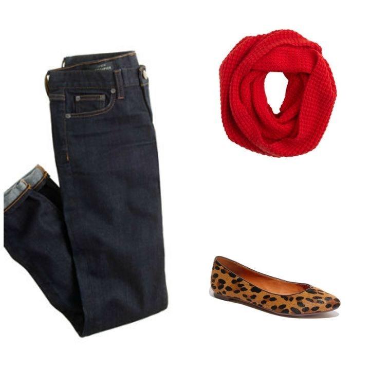 boy jeans infinity scarf leopard flats