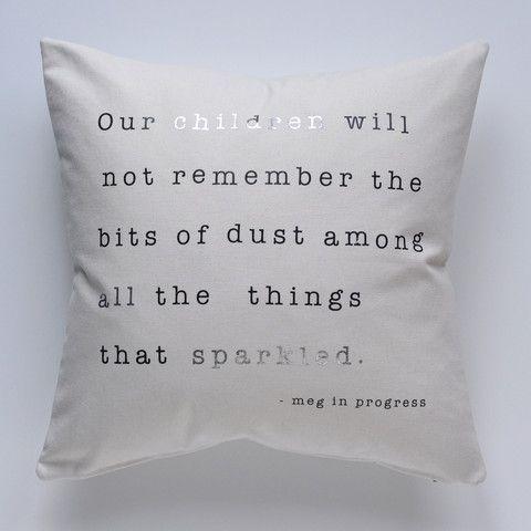 meg in progress sparkle pillow