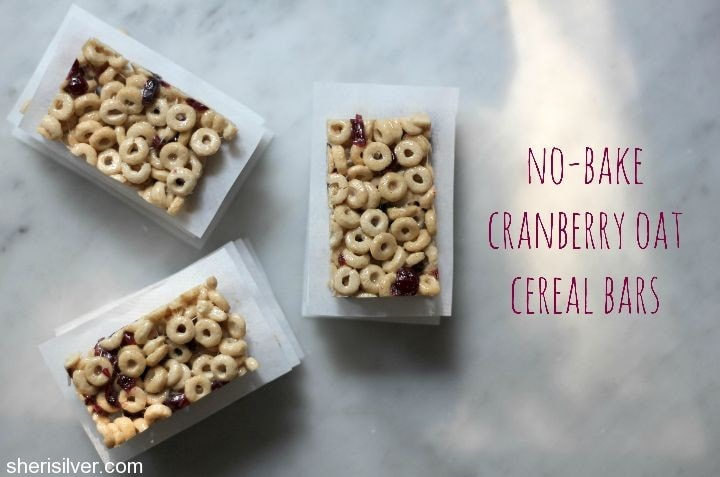 no bake cranberry oat cereal bars