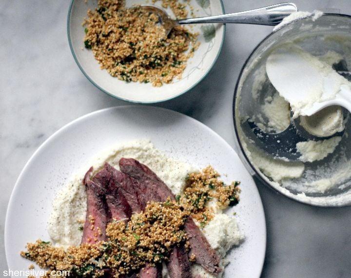 steak with crispy quinoa and cauliflower puree