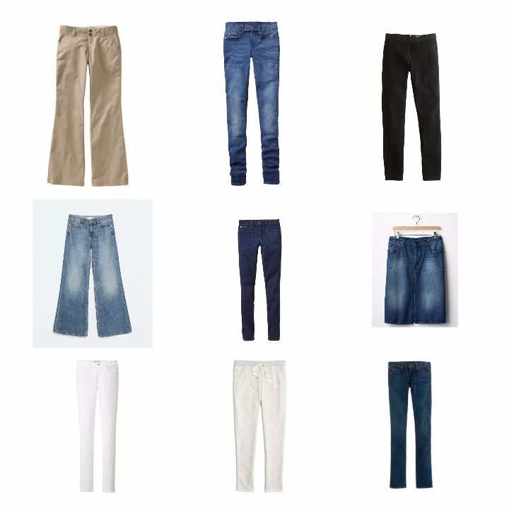 AM15 capsule wardrobe bottoms