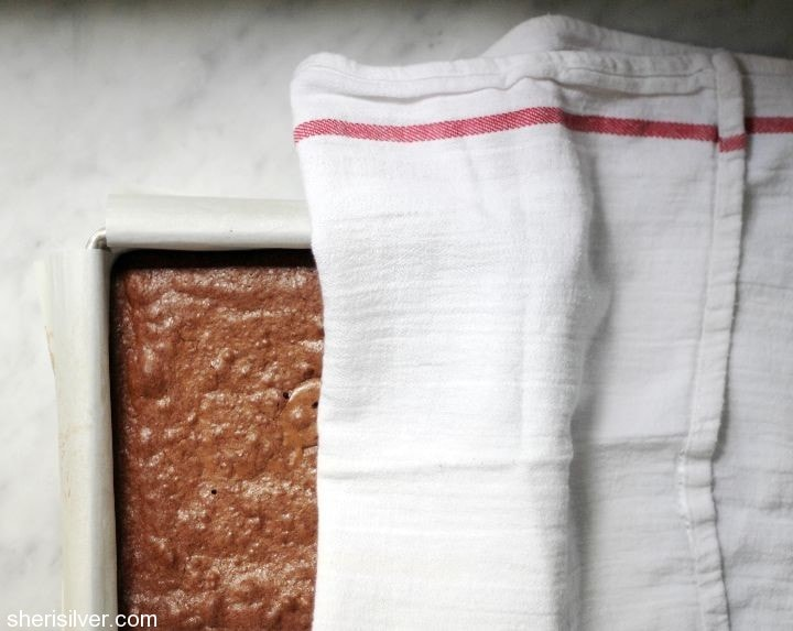 dish towel over warm baked goods