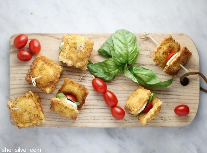 fried ravioli caprese stacks
