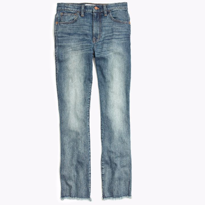 madewell cali cropped frayed flared denim