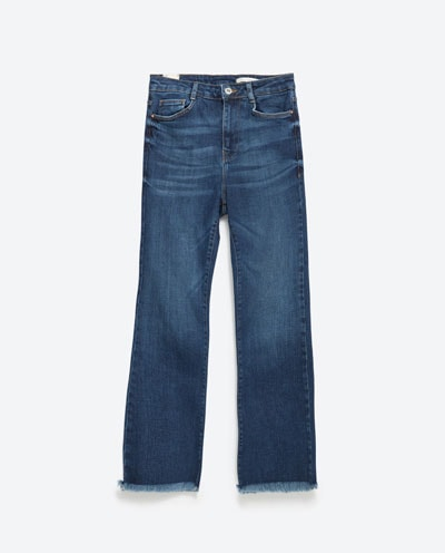 zara cropped frayed flared denim