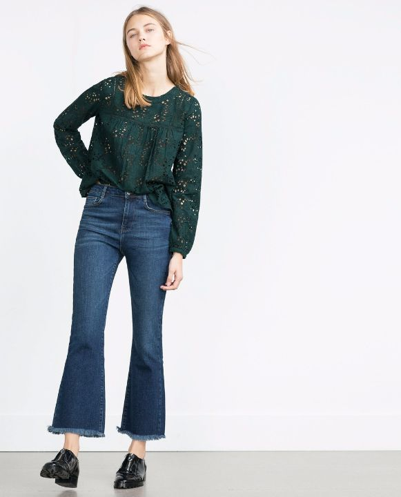 zara cropped frayed flared denim2