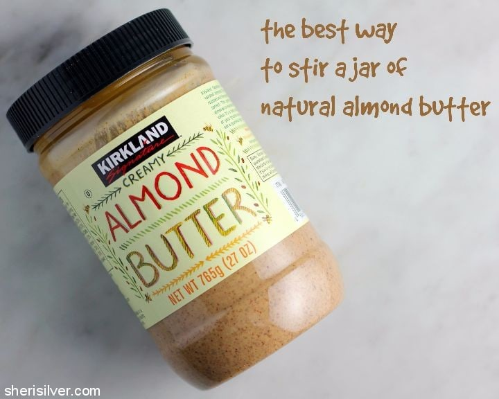 stir a jar of almond butter