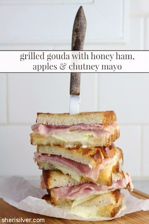 grilled gouda with honey ham apples and chutney mayo #ad