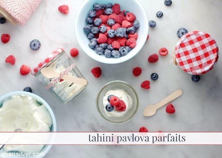 tahini pavlova parfaits